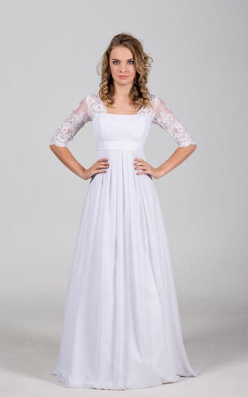 Bridal Chantelle Lace Corset Bateau-Neckline Floor-Length Dress