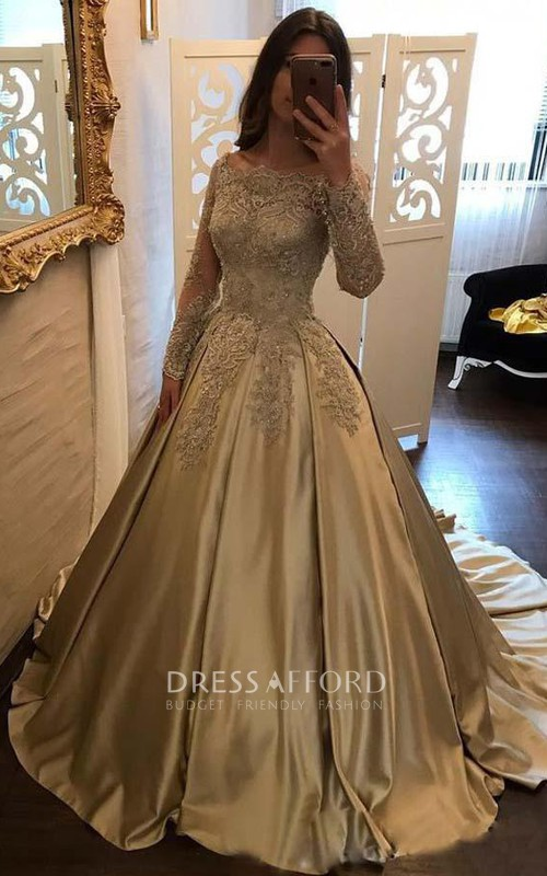 Off-the-shoulder Satin Lace Long Sleeve Court Train Beading Pleats Embroidery Dress