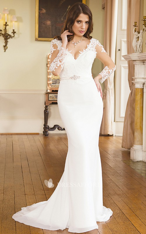 Sheath V-neck Illusion Long Sleeve Jersey Dress With Appliques