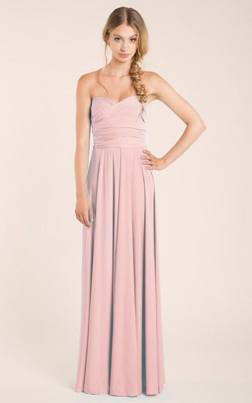 Floor-Length Criss Cross Sleeveless Sweetheart Dress
