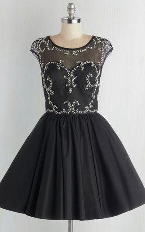 Cap Sleeve Jeweled Short Open Back Chiffon Dress