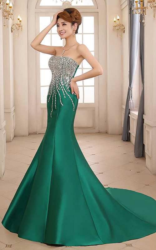 Mermaid Sweep Train Strapless Sleeveless Satin Dress with Beading