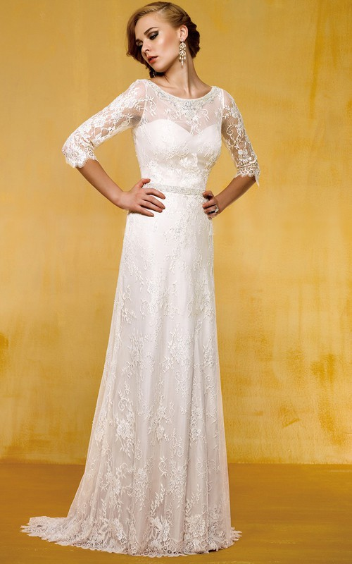 Scoop-neck 3-4-sleeve Sheath Lace Wedding Dress With Appliques And Beading