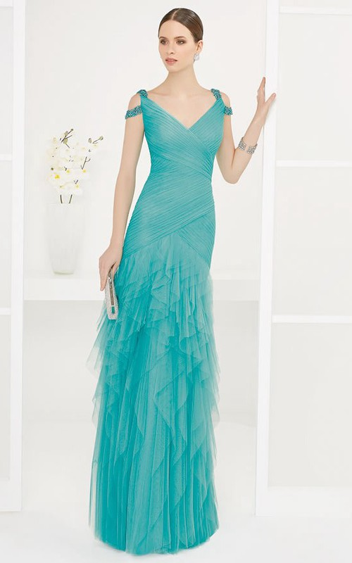 V Neck V Back Tiered Tulle Long Prom Dress With Beaded Straps