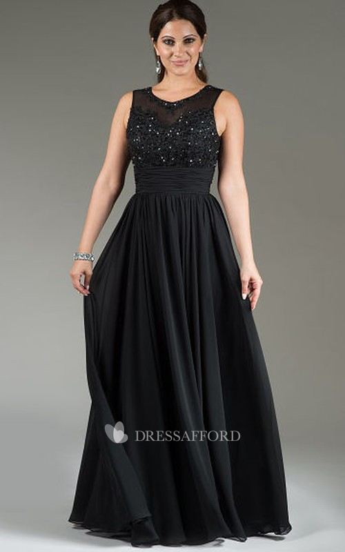 Jewel-Neck Sleeveless Chiffon Dress With Appliques And Pleats