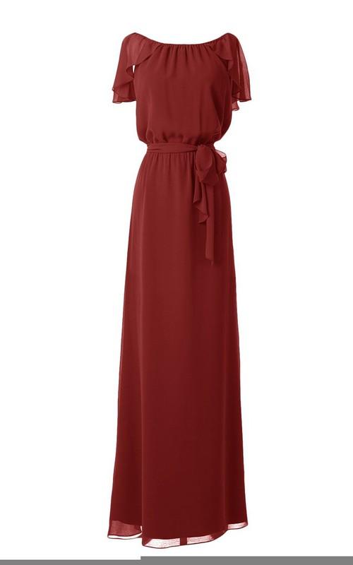 Bateau Long Chiffon Dress With Draping and Belt