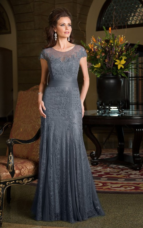 Short Sleeve Scoop-neck Lace Mother of the Bride Dress With  Pleats And Appliques