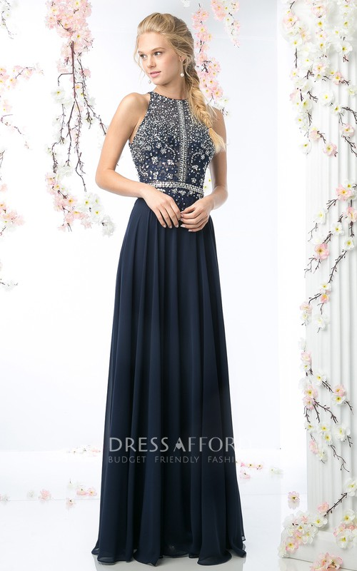 Jewel-Neck Sleeveless Chiffon Pleated Prom Dress With Crystal Detailing