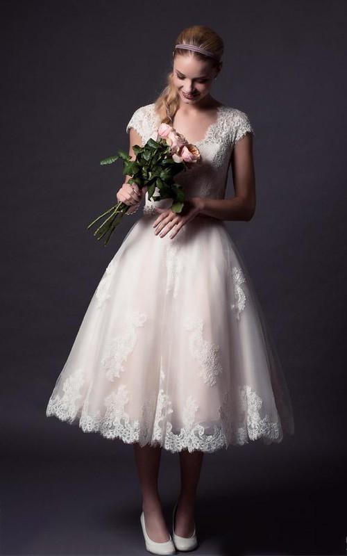 Bell Button Lace Short A-Line Tulle Appliqued Dress