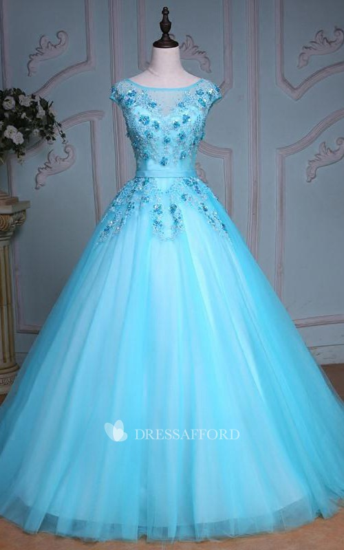 Tea-Length Sequined Bell Jeweled Appliqued Tulle Corset Lace Ball Gown