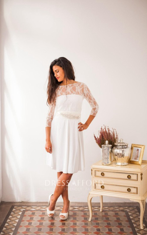 Bateau-neck Lace 3-4-sleeve Chiffon midi Dress With Jeweled Waist