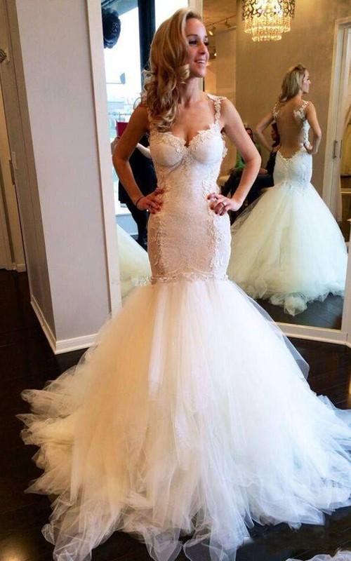Spaghetti Lace Tulle  Sleeveless Wedding Dress