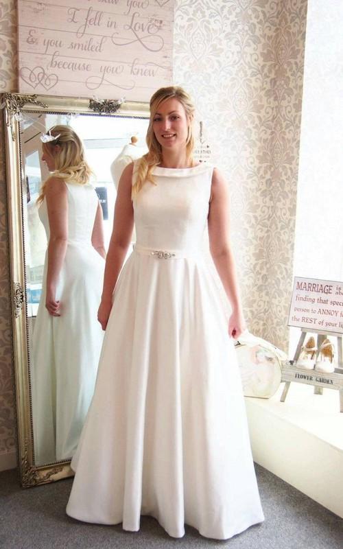 Satin Jeweled Ribbon A-Line Full-Length Bridal Dress
