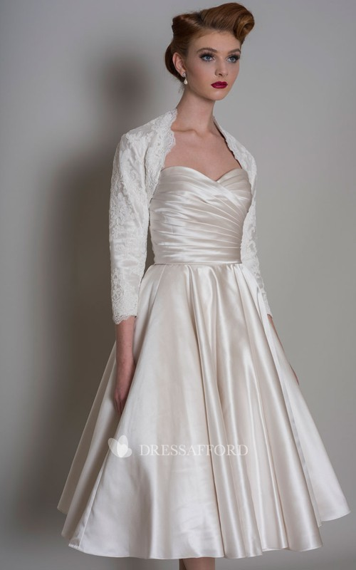 A-line Sweetheart Knee-length Wedding Dress With Criss cross And bolero