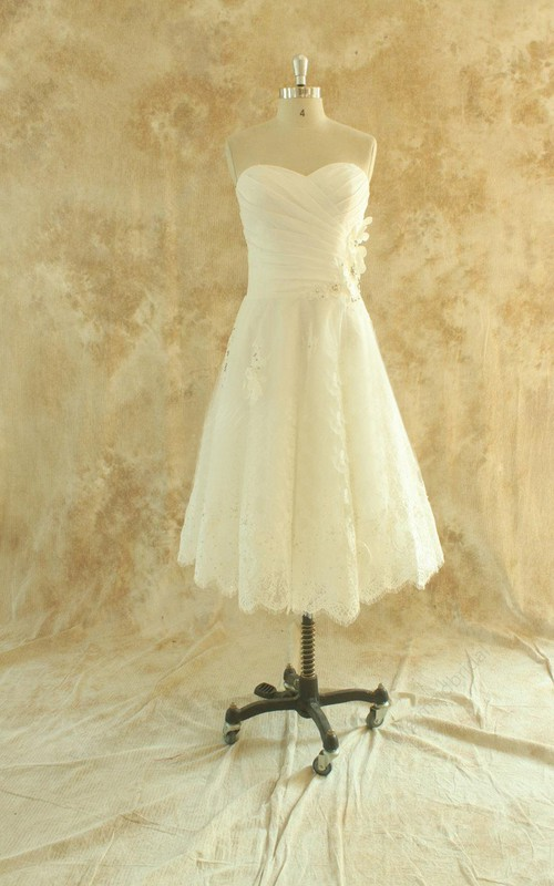 Wedding Ruched Sweetheart Neckline Tea-Length A-Line Gown