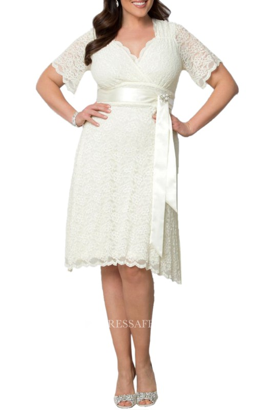 Midi-Length Satin Sash Scalloped-Edge Short-Sleeve Gown
