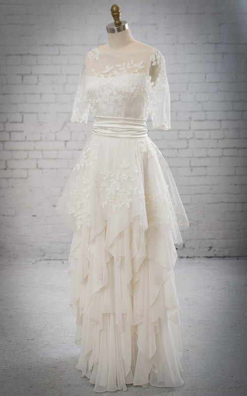 Half-Sleeved Stunning Dress With Removable Embriodery Peplum