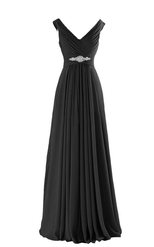 Floor-Length Pleated Beadings A-Line V-Neckline Chiffon Gown
