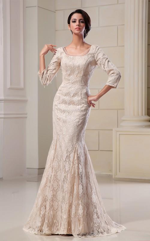 Lace Appliqued Bateau-Neckline-Inspire Sexy Gown