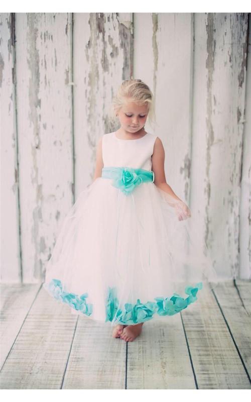 A-Line Floating Petals Organza Sash Bust Satin Dress