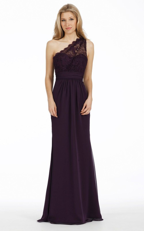 One-shoulder Sleeveless Lace Long Bridesmaid Dress With Ruching