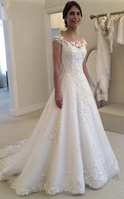 Adorable Bateau Lace Bridal Gown With Illusion Button Back And Cap Sleeves