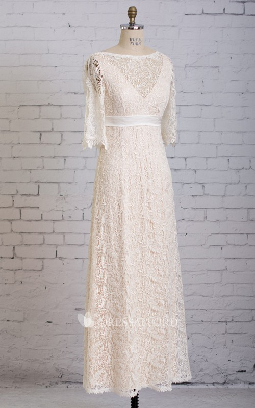 V Back Half-Sleeved Illusion-Neck Floor-Length Column Dress