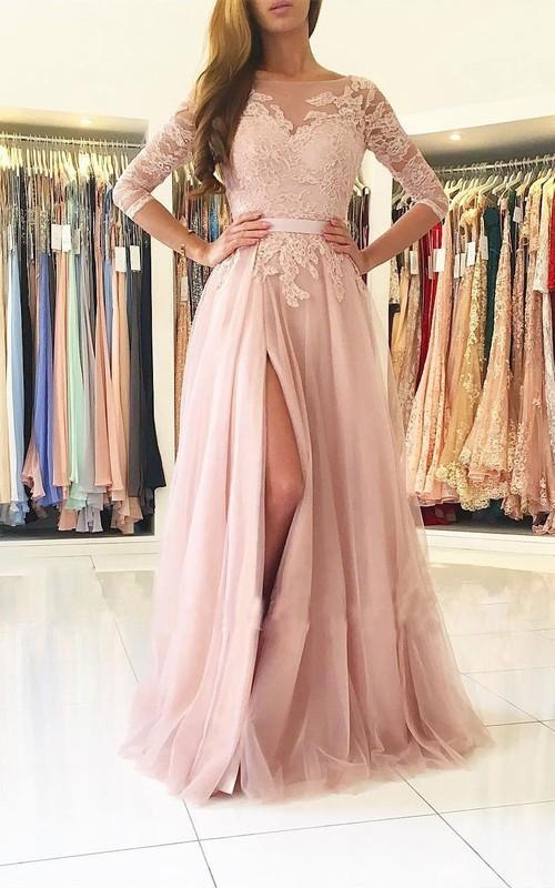 Jewel Lace Tulle 3 4 Length Sleeve Floor-length Pleats Split Front Embroidery Dress