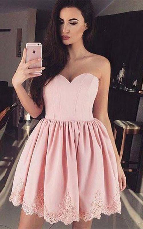 Strapless Sweetheart Taffeta Sleeveless A Line Cross Back Homecoming Dress with Lace
