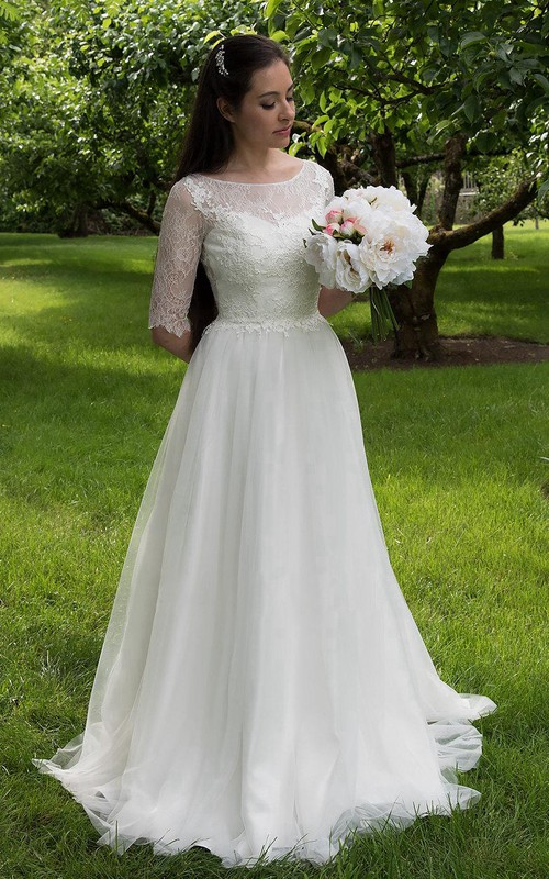 Tulle Elbow Sleeves Wedding A-Line Long Lace Gown