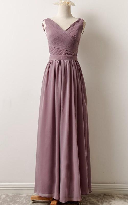 V-neck Sleeveless Chiffon Floor-length Bridesmaid Dress With Pleats