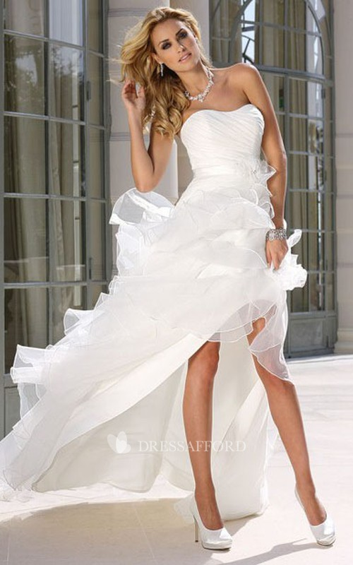 Strapless High-low Ruffled Wedding Dress With ruching