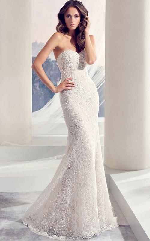Sweetheart Long Beaded Lace Wedding Dress With Sweep Train