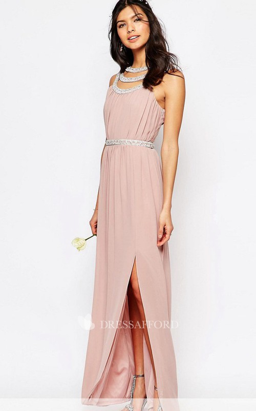 Ankle-Length Beaded Sleeveless Scoop Neck Chiffon Bridesmaid Dress
