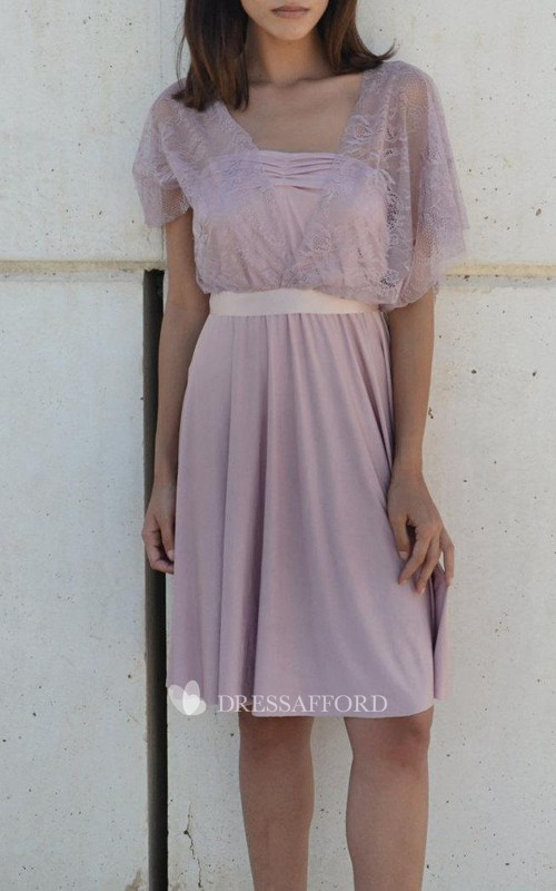 Chiffon Knee-length Dress With bow And Lace cape