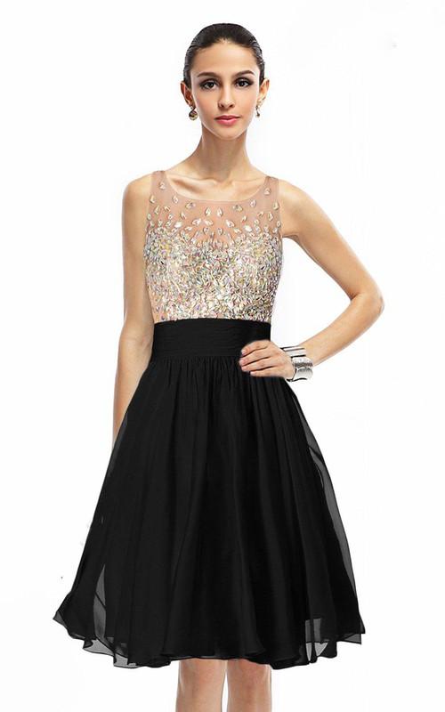 Rhinestoned Bodice A-Line Sleeveless Gown
