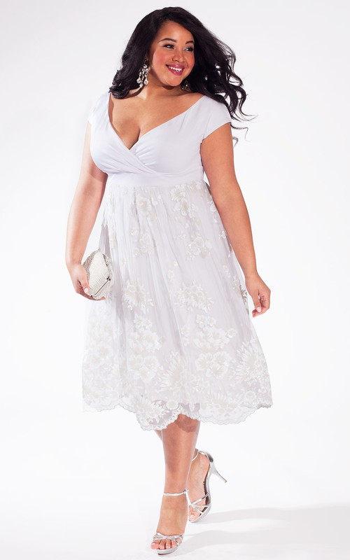 Plunged Cap-sleeve Empire Tea-length plus size wedding dress With Appliques