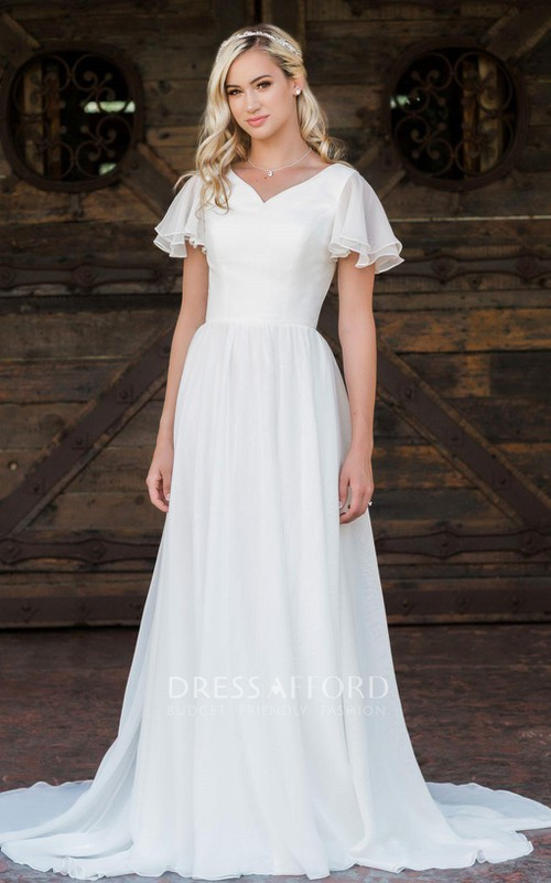 Elegant Short Sleeve Chiffon V-neck A Line Floor-length Brush Train Wedding Dress with Ruffles
