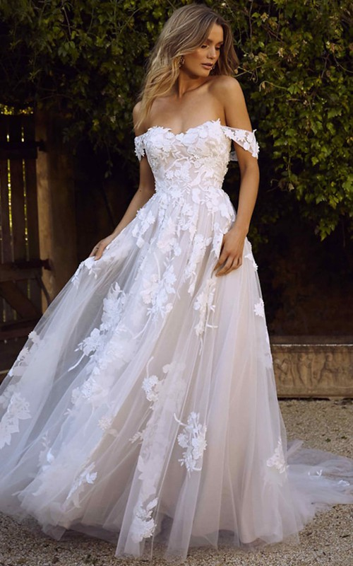 A Line Off-the-shoulder Lace Tulle Floor-length Court Train Sleeveless Open Back Wedding Dress