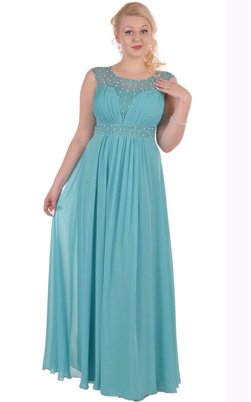 Short-Sleeve Pleated Floor-Length A-Line Zipper Chiffon Gown