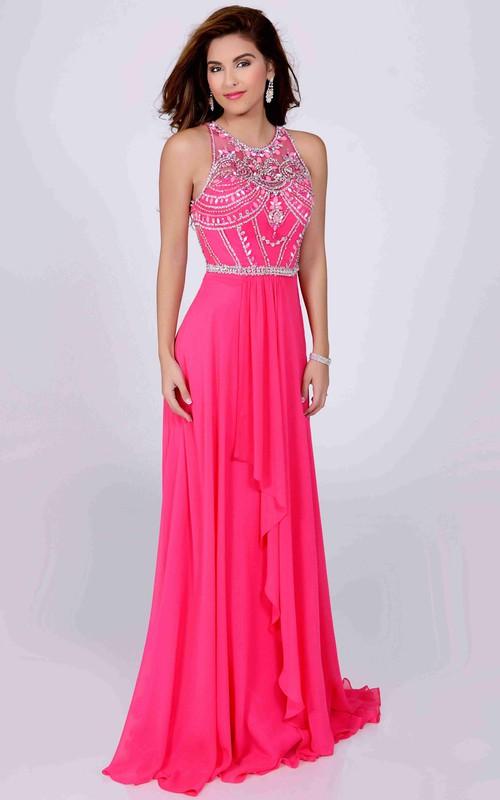 Scoop-neck Sleeveless draped Chiffon Dress With jeweled top