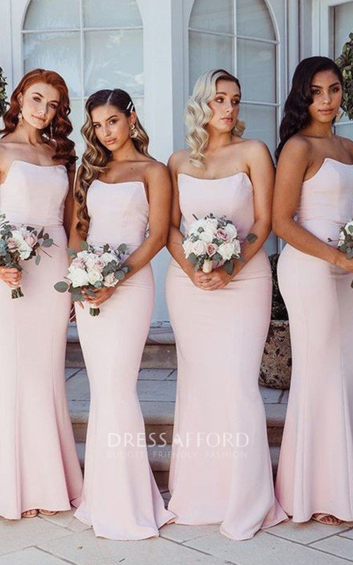 Strapless Taffeta Sleeveless Floor-length Bridesmaid Dress with Ruffles