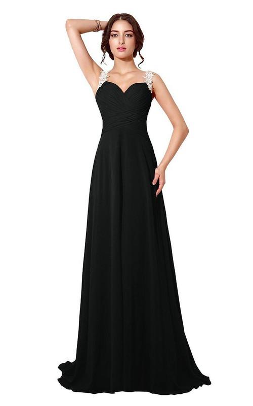 Chiffon Illusion Back A-Line Sleeveless Dress