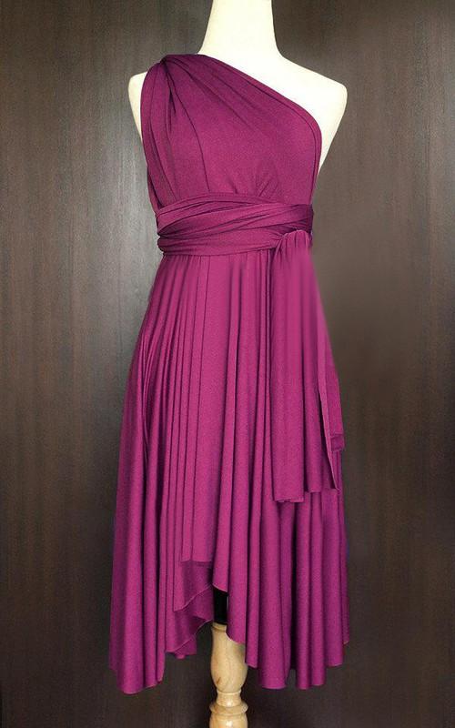 One-shoulder Sleeveless Pleated short infinite Dress