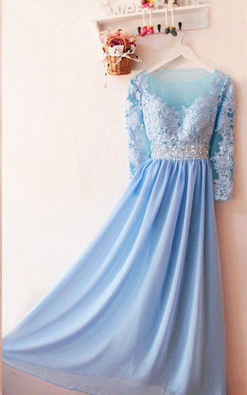 Appliqued Sequins Long-Sleeved Charming Gown