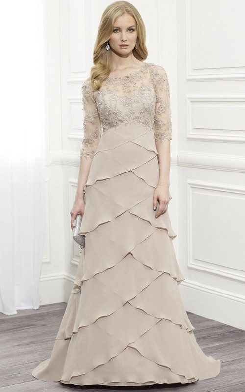 Half Sleeve Tiered Illusion Dress With Appliques And Sweep Train