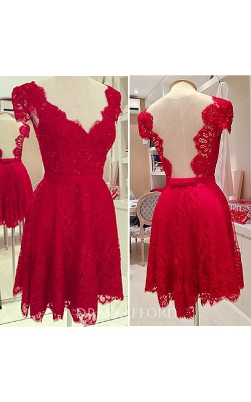 V-Neck Cap Sleeve A-line Lace Dresses