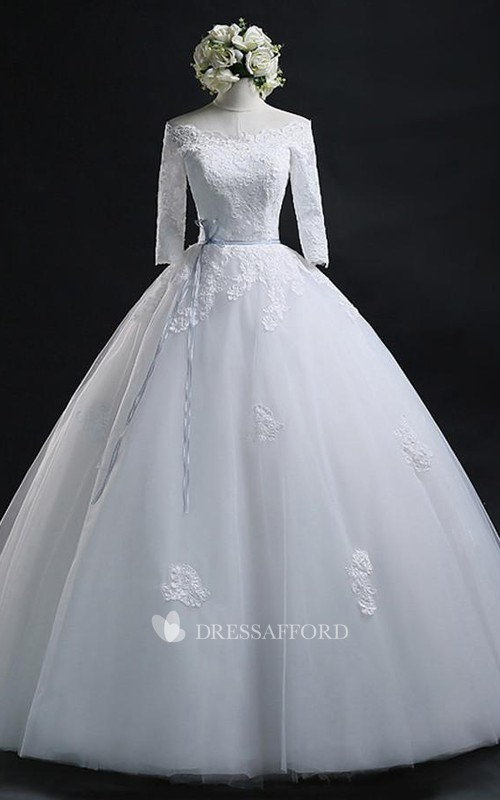 Off-the-shoulder Lace Tulle Illusion 3/4 Length Sleeve Wedding Dress