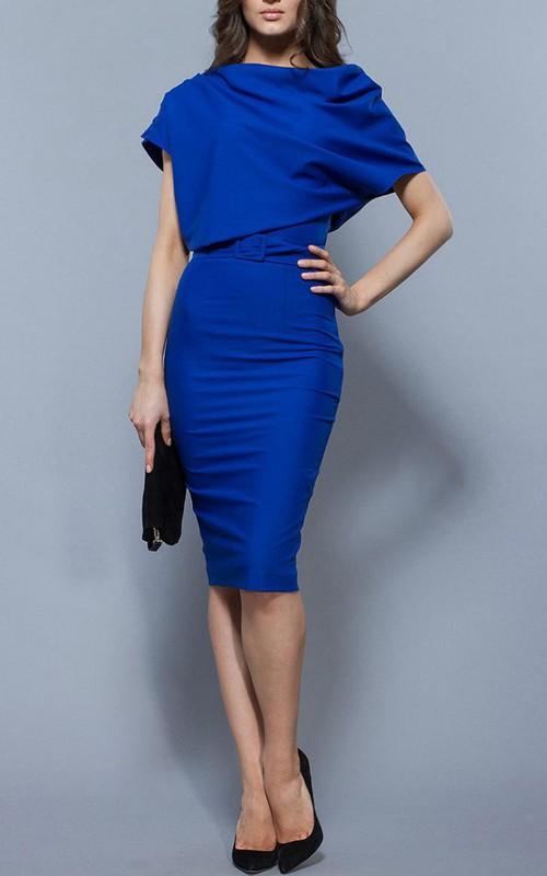 Oversize Top Sheath Jersey Knee Length Dress With Belt Royal Blue