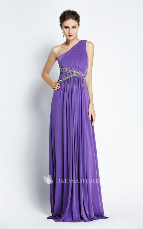 Floor-length A-Line One-shoulder Sleeveless Chiffon Prom Dress with Beading and Pleats